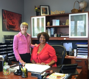 Emily working in the office of Rose Squires, President and Founder of Community Home Health Care