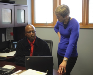 Emily working with Steven Squires, Head of IT, at Community Home Health Care